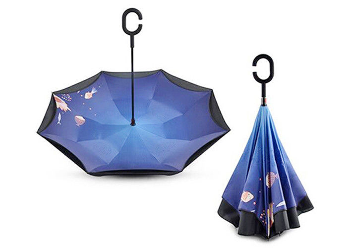 Double Layer Promotional Products Umbrellas 3 Folding Sun Inside Out Umbrella